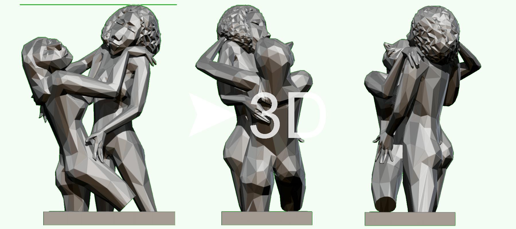 3d sculpture from artwork